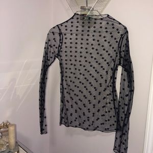 Nasty gal mesh polka dot top never worn